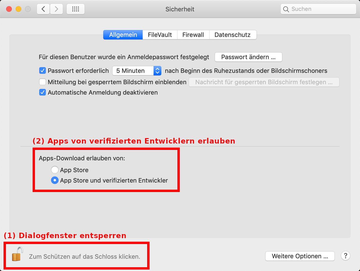 Apps von verifizierten Entwicklern erlauben