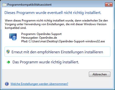 Rückfrage unter Windows nach Beendigung des Programms