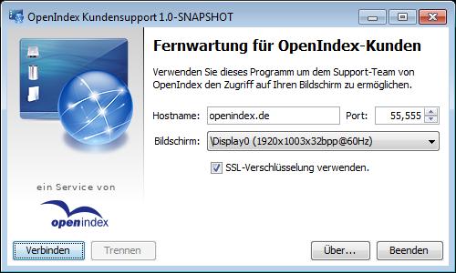 OpenIndex Support Tool unter Windows